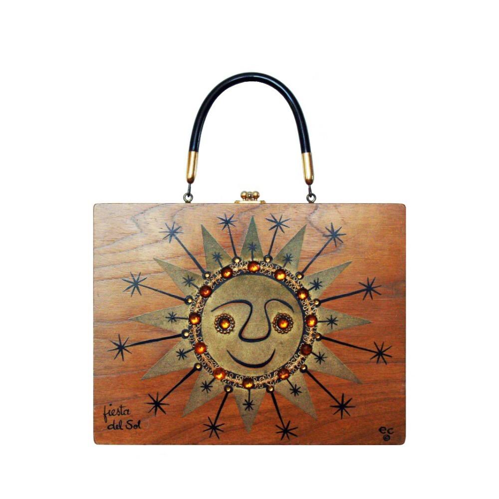 "Enid Collins of Texas 1967 ""fiesta del sol"" box bag   height - 8 5/8""  width - 11 1/8""  depth - 2 3/4"""