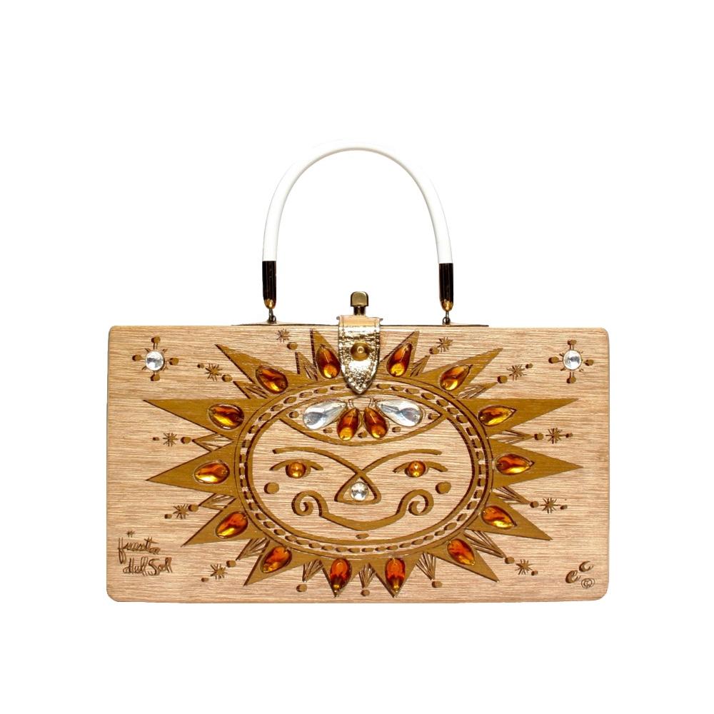 "Enid Collins of Texas 1961 ""fiesta del sol"" box bag   height - 6 1/2""  width - 11 3/4""  depth - 2 3/4"""
