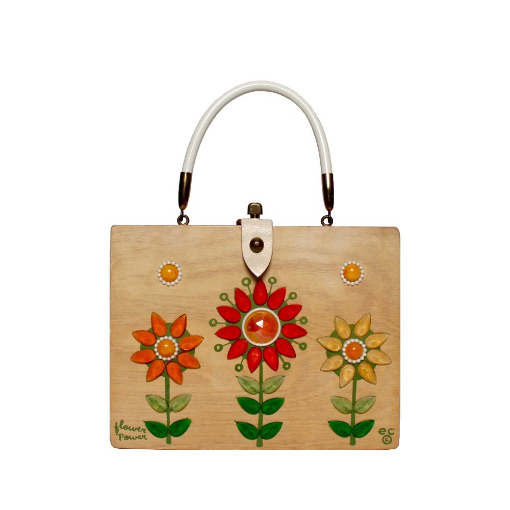 "Enid Collins of Texas ""flower   power"" box bag   height - ""   width - ""   depth - """