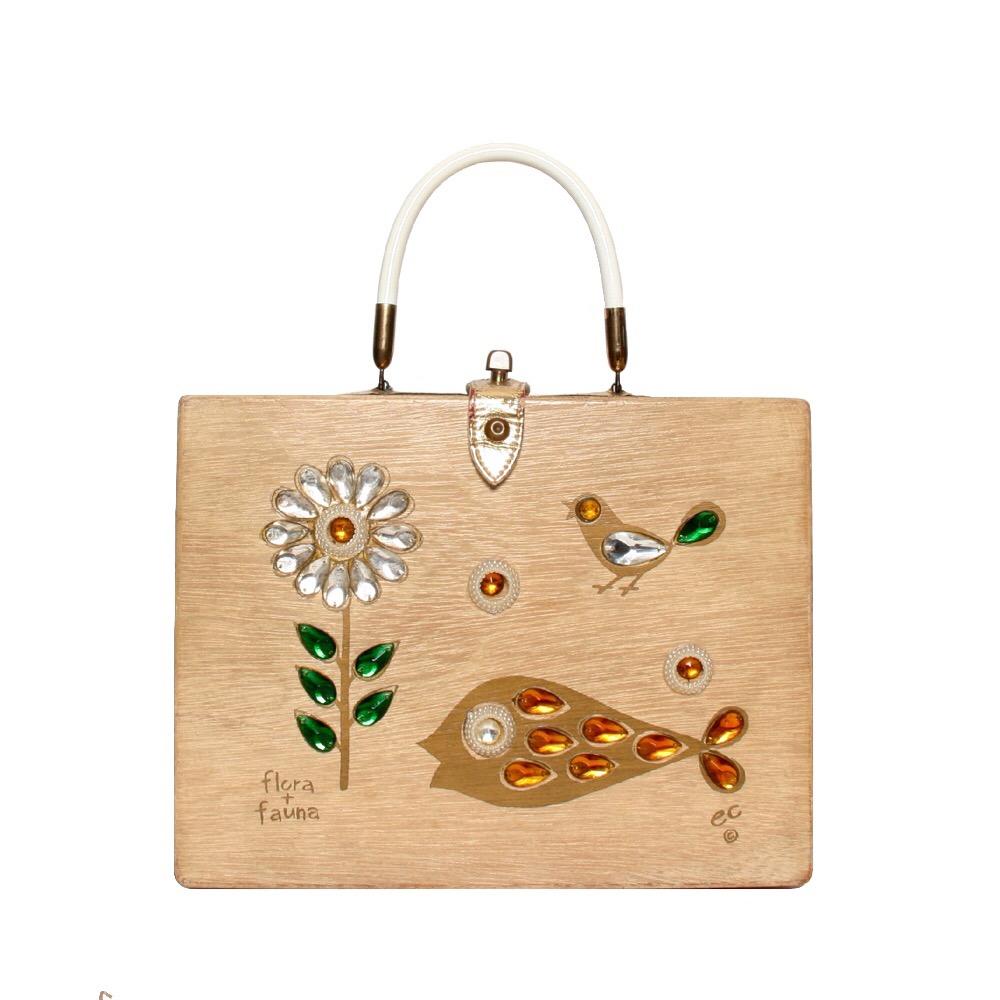 "Enid Collins of Texas 1961 ""flora + fauna"" box bag   height - 8 1/2""  width - 11""  depth - 2 3/4"""