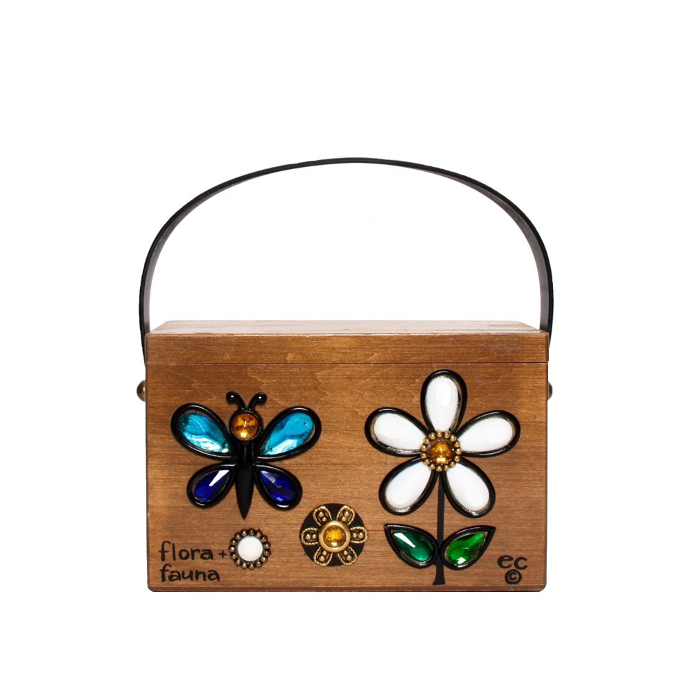 "Enid Collins of Texas ""flora + fauna"" box bag   height - 4 1/8""  width - 7 1/8""  depth - 3 1/2"""