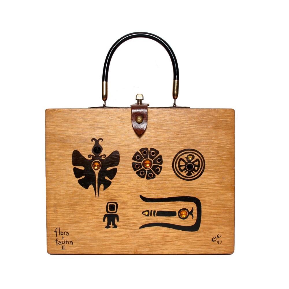 "Enid Collins of Texas 1961 ""flora + fauna II"" box bag   height - 8 5/8""  width - 11 1/8""  depth - 2 3/4"""