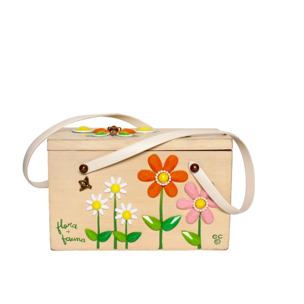 "Enid Collins of Texas ""flora + fauna"" box bag   height - 5 3/8""  width - 8 5/8""  depth - 4 1/4"""