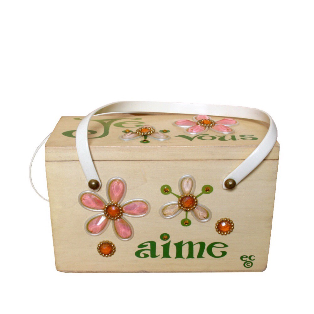 """Enid Collins of Texas """"Jevous aime"""" box bag   height -   width -     depth -"""