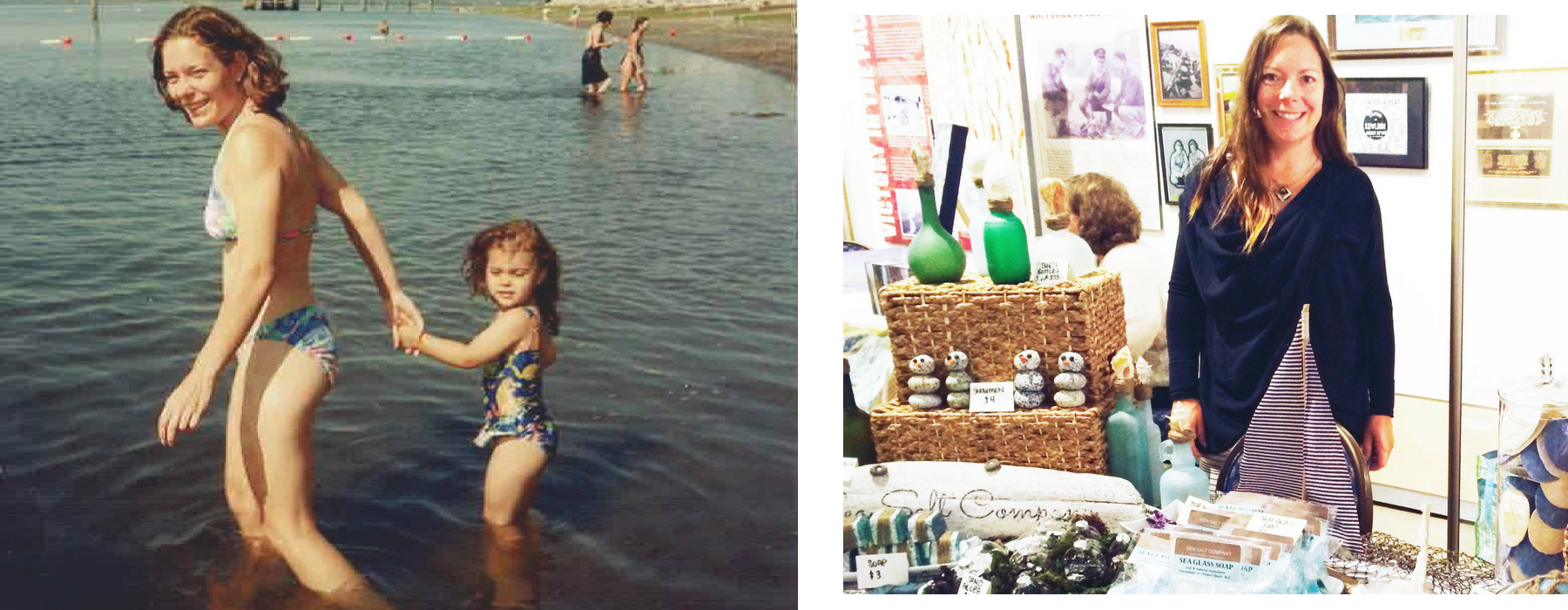 That's me and my daughter, Ceara in Crescent Beach 23 years ago! The photo on the right is my very first market, when I used to call my little business Sea Salt Company.