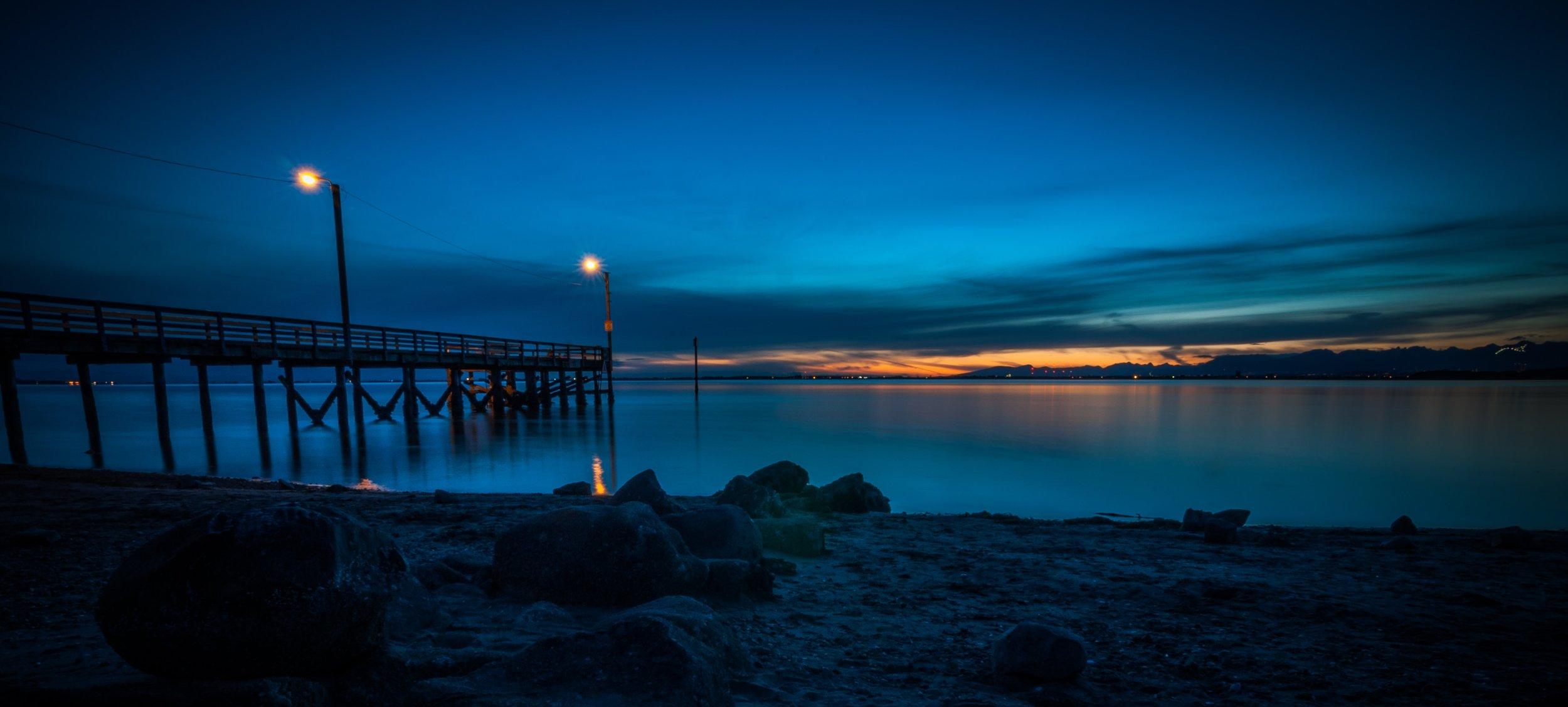 Crescent Beach at dusk.