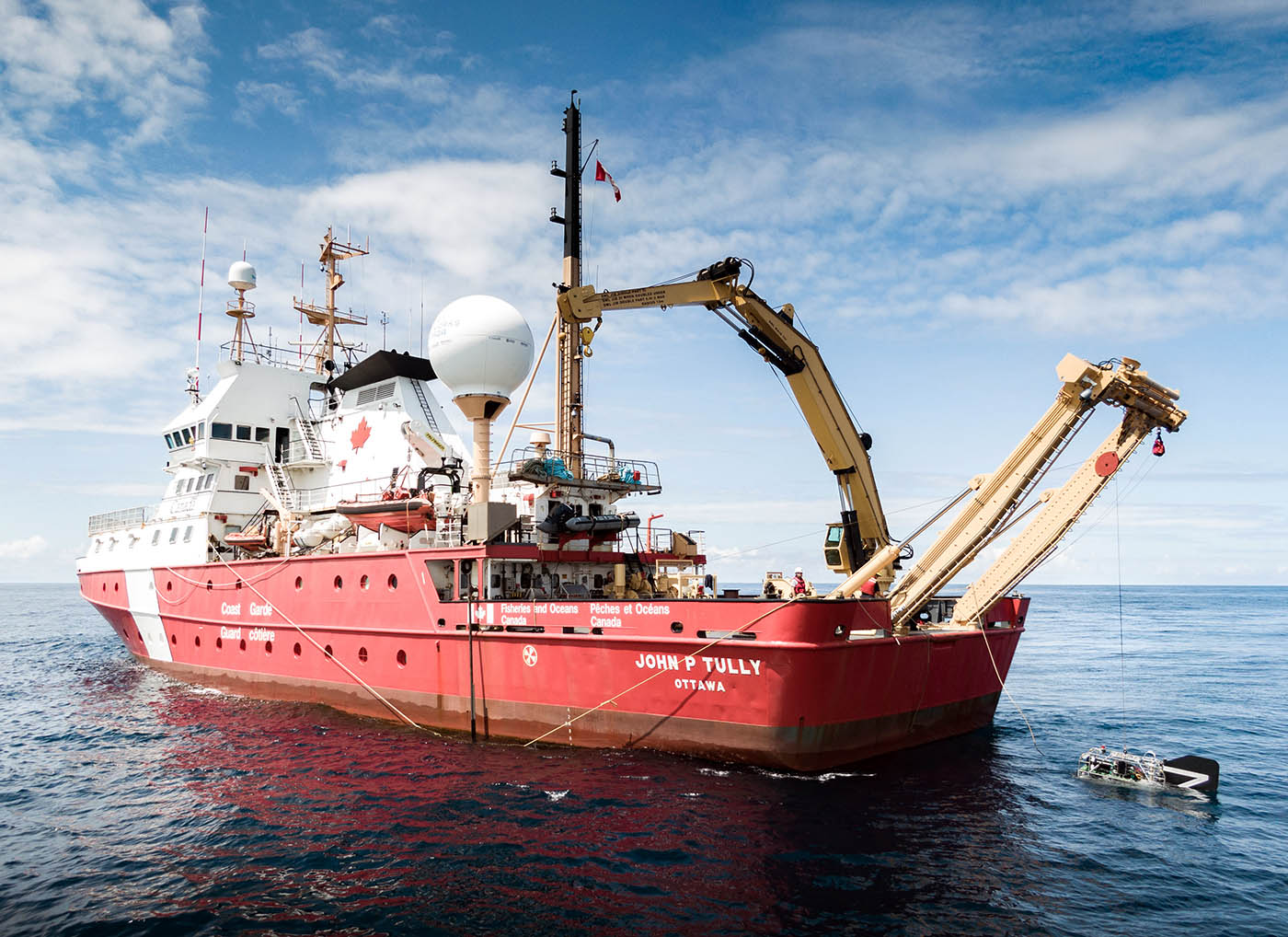 Launching the drop camera, BOOTS, at Explorer Seamount. Dupreez/Fisheries and Oceans Canada