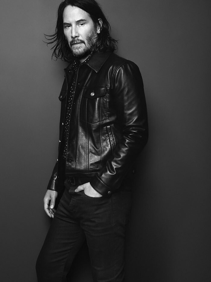 Keanu Reeves modelling for Saint Laurent when he's not doing many of his own stunts in the John Wick franchise.