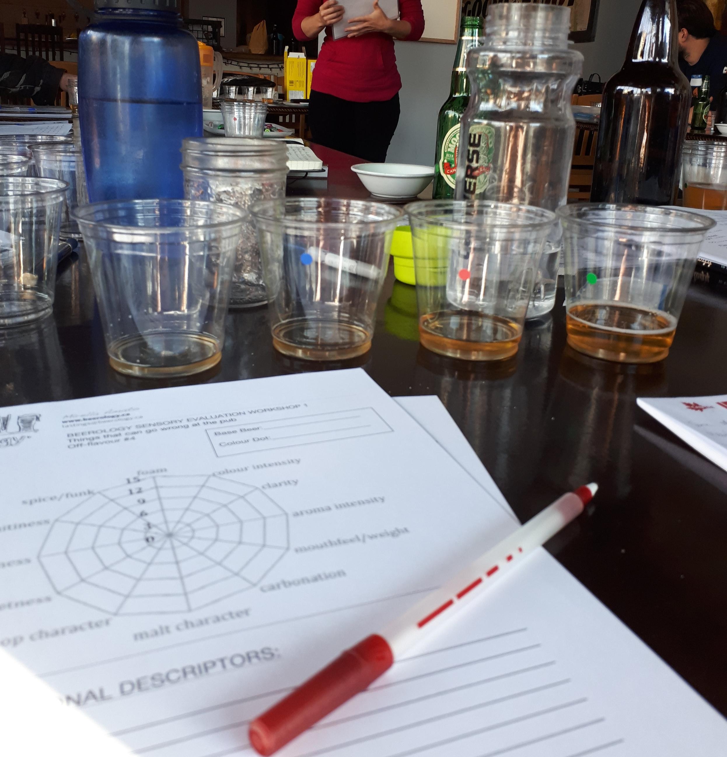"""Katıldığım bir off-flavour workshop'tan: En soldaki bira içine aroma katılmamış baz bira, gördüğünüz kağıt da tatları not aldığınız """"tadım cetveli"""""""