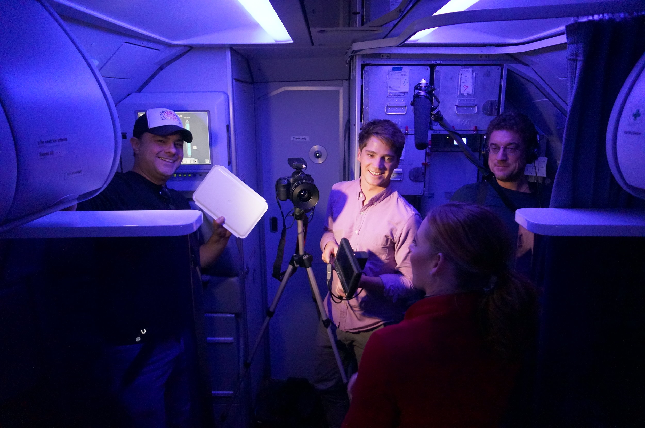 Brainstorm's crew filming  an interview at 30,000 over Colorado.