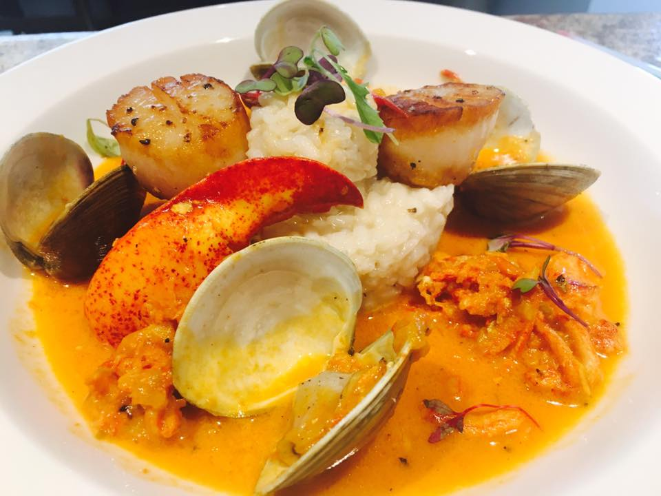 Lobster, Scallops and Clams with risotto, Saffron cream broth..jpg