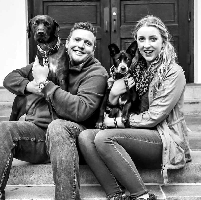 Jessica Jarrett,  Instructor -   violin, cello, voice, guitar, piano, mandolin. Picture with her fiance Duncan and their pups.