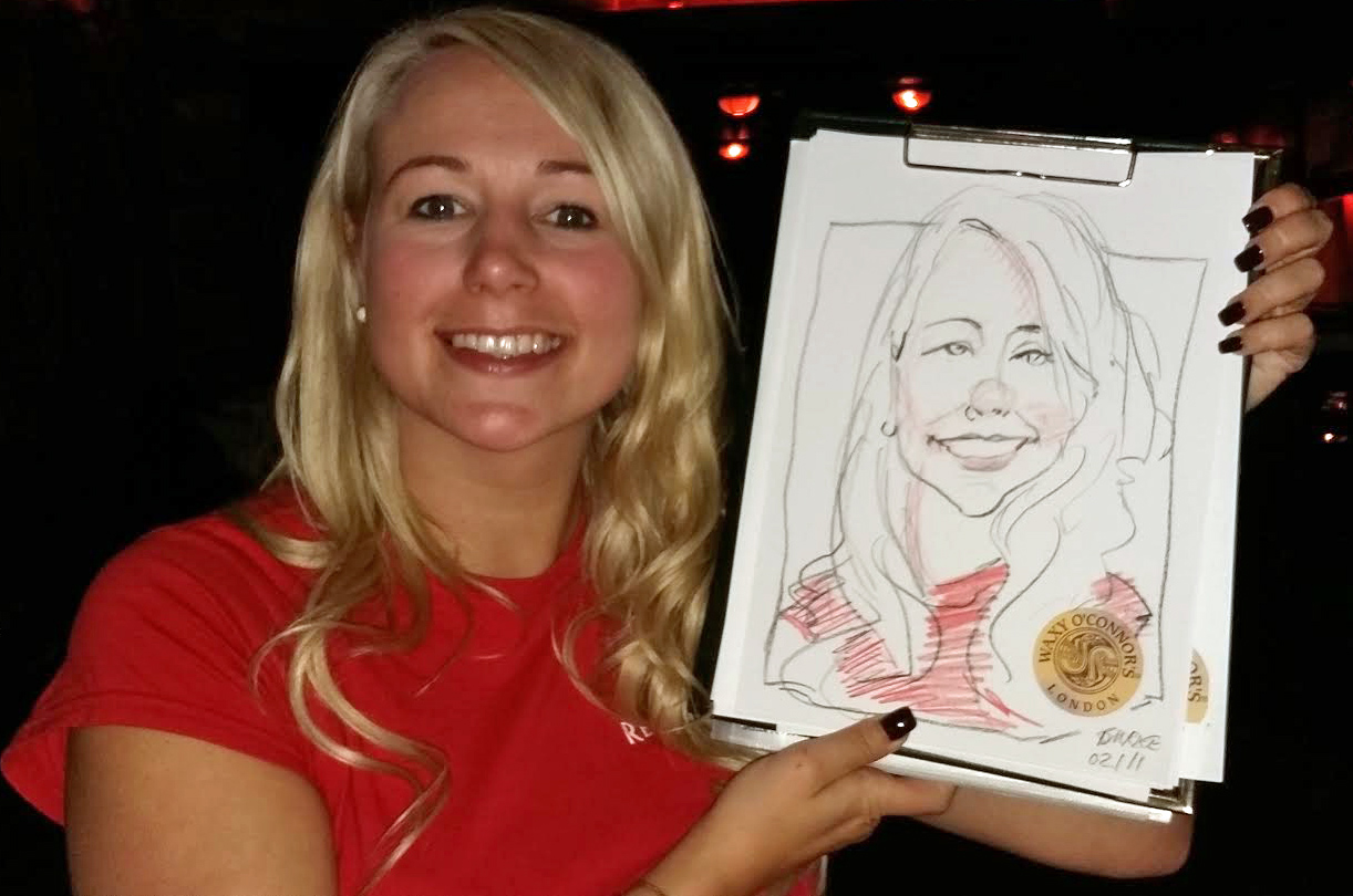 A few more instant carictures from the party Another happy customer