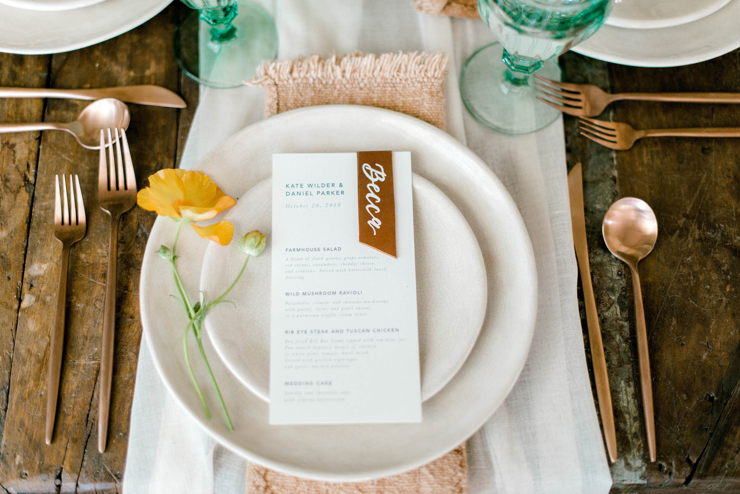 Courtney Leigh Photography_Dreams and Nostalgia_Wedding Menu_Leather Place Card_Calligraphy.jpg