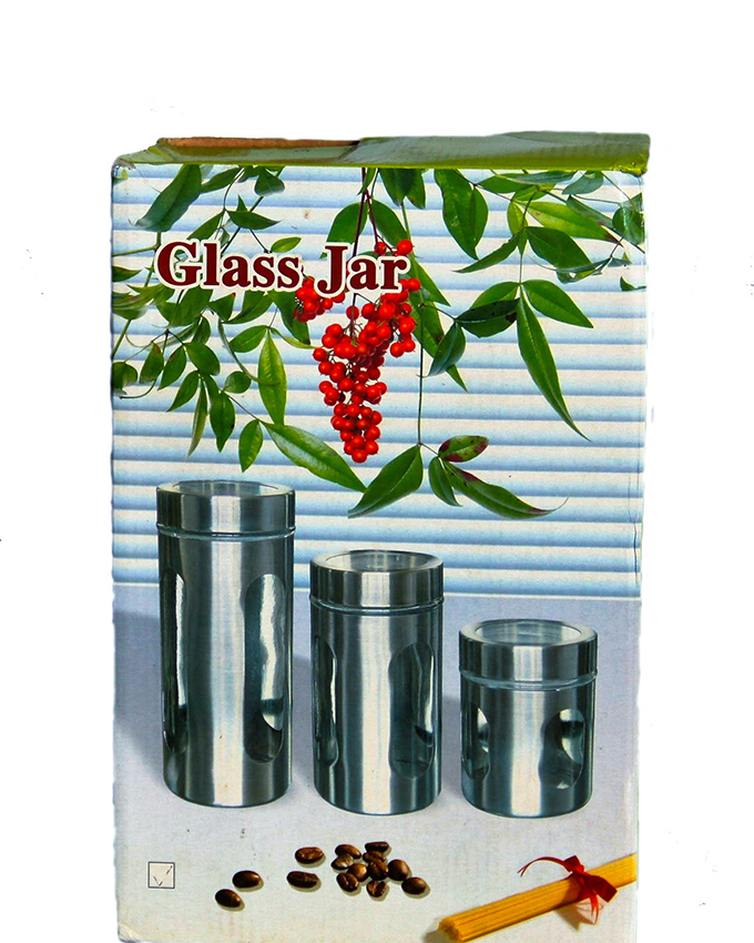 set of 3 chrome and glass canisters ( sold out)   n2,900