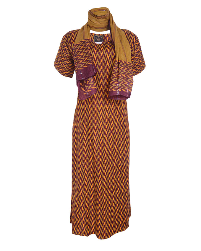 croxley maxi dress and scarf - brown sizes 16   n7,500
