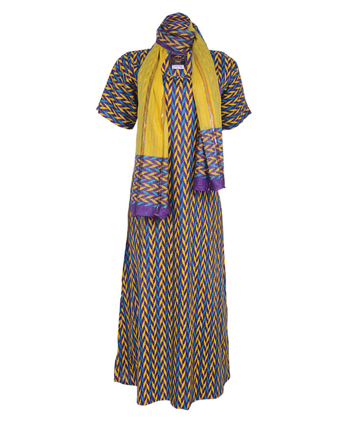 croxley maxi dress with scarf - blue sizes 16   n7,500