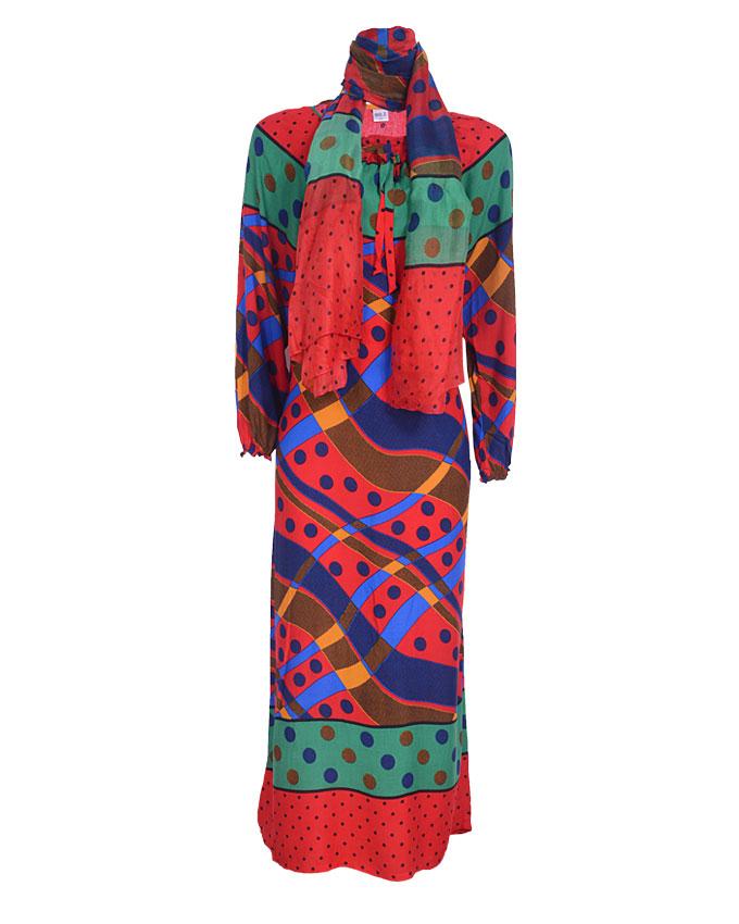 debden maxi dress w/ scarf - red sizes 14,18, 20   n4,600