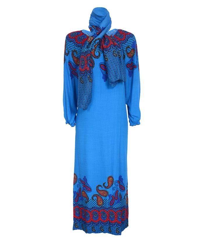 mornington maxi dress w/ scarf - blue sizes 16, 18, 22   n4,500