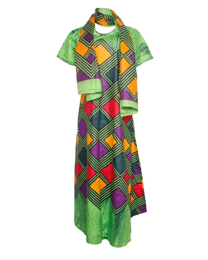 pretoria maxi dress w/ multi-color print and scarf - green sizes 18   n8,500
