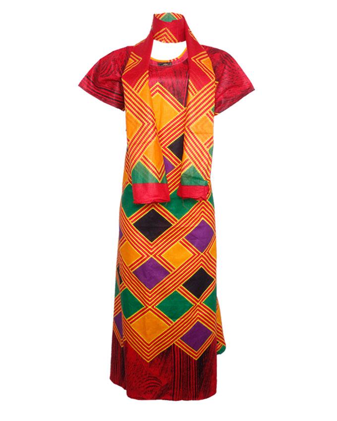 PRETORIA MAXI DRESS W/ MULTI-COLOR PRINT AND SCARF - red SIZES 18   N8,500