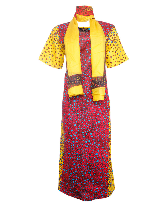 PINNER TURTLE SHELL INSPIRED MAXI DRESS WITH SCARF - blue/redSIZES 18   N7,500