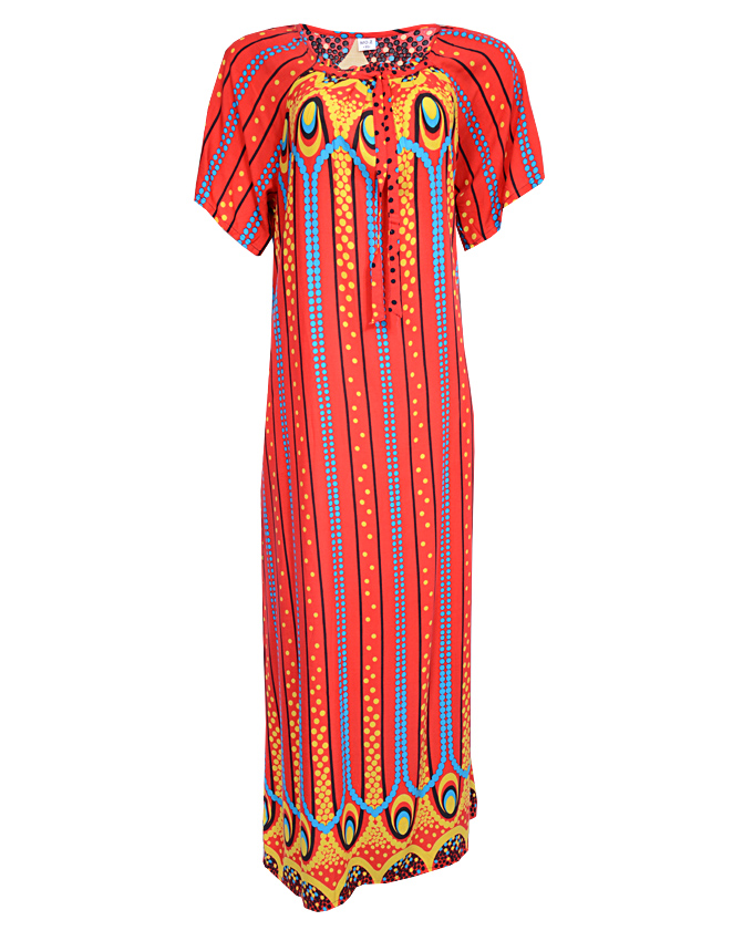 QUEENSWAY MAXI DRESS WITH CIRCLE ORBIT PRINT - red SIZES 16 - 20   N3,500