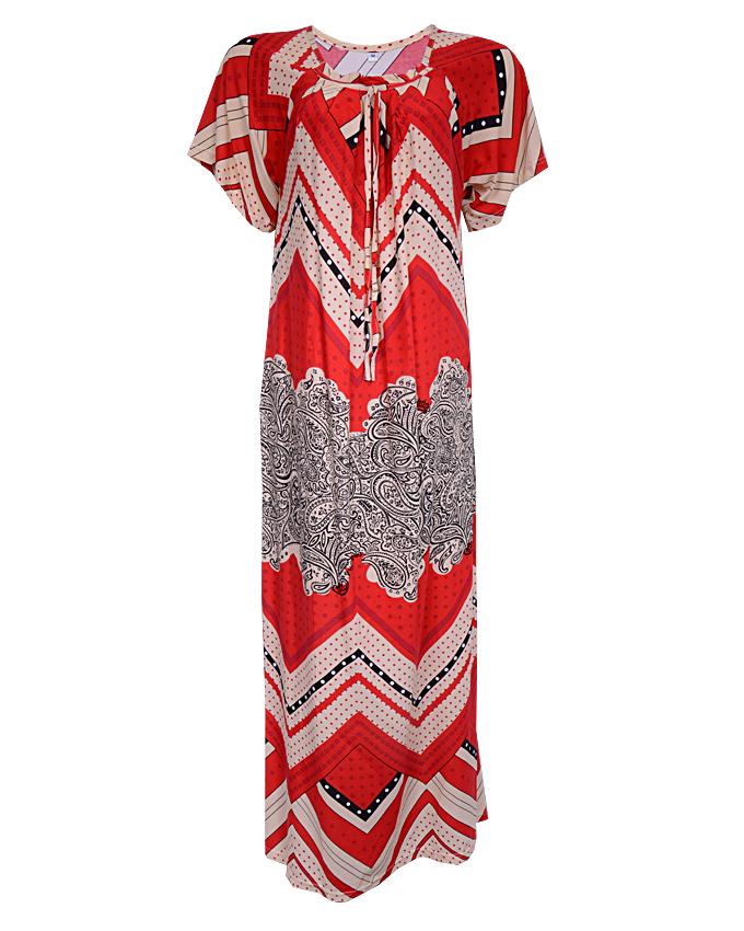 REGENCY MAXI DRESS WITH ZIG-ZAG PRINT - redSIZES 14, 20   N3,500