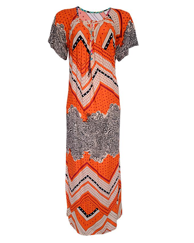 REGENCY MAXI DRESS WITH ZIG-ZAG PRINT - orange SIZES 16 - 18   N3,500