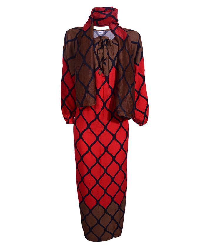 tristan maxi dress w/ scarf - redsizes 18   n4,500