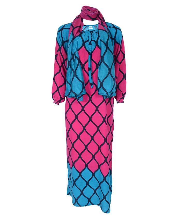 tristan maxi dress w/ scarf - purple sizes 16 - 20   n4,500