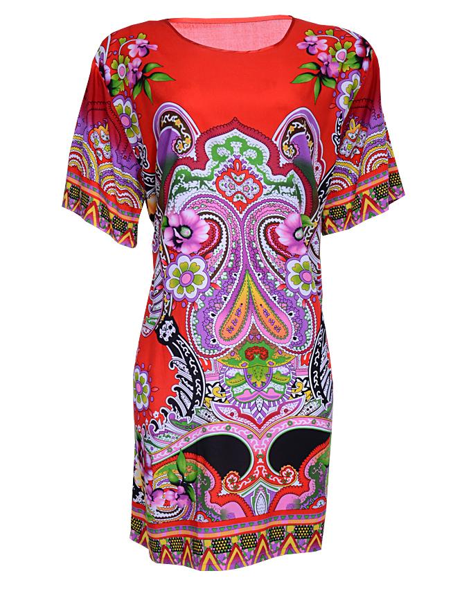 WHETSTONE MINI DRESS WITH FERN PRINT - redSIZES ONE SIZE   N4,500