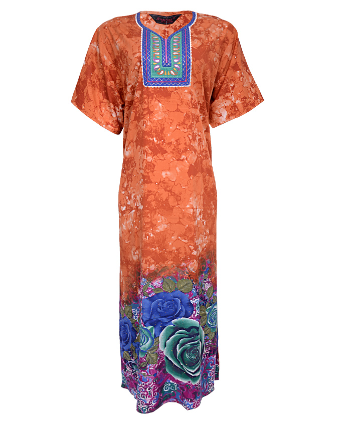 york maxi dress( kaftan) with leaf print - brown sizes 18 - 22   n3,900