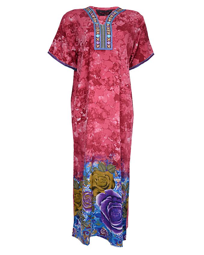 YORK MAXI DRESS( KAFTAN) WITH LEAF PRINT - plumSIZES 16 - 18   N3,900