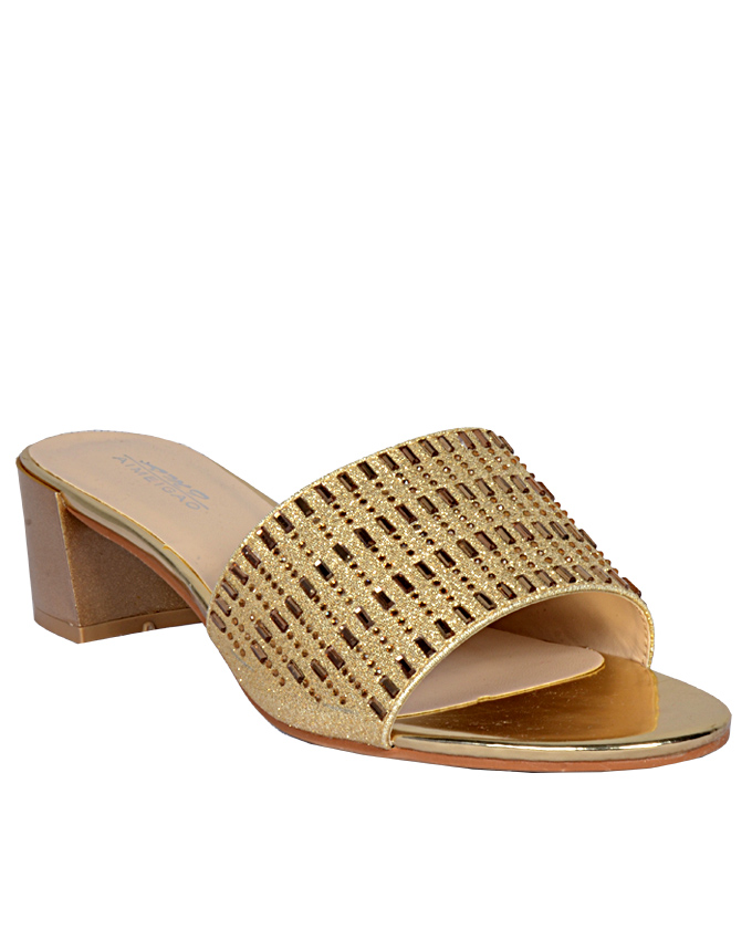 leather slippers with gold lines - gold    sizes  u.k 6  ( 1 LEFT)   n12,000