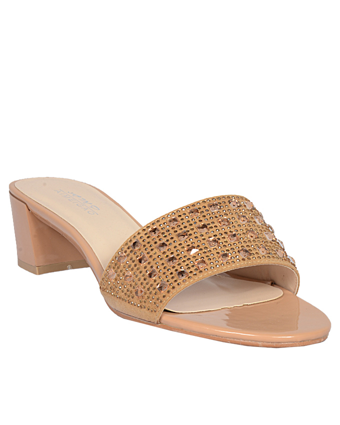 casual slippers with gold studs - gold    sizes  u.k 7  ( SOLD OUT)   n12,000