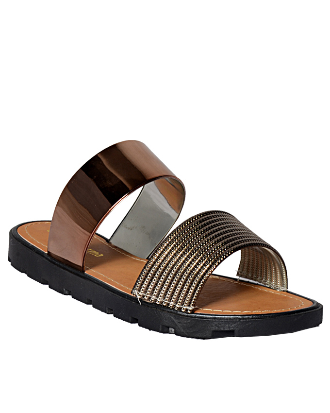 casual bronze rubber and leather sandals    sizes  u.k 6.5  n12,000