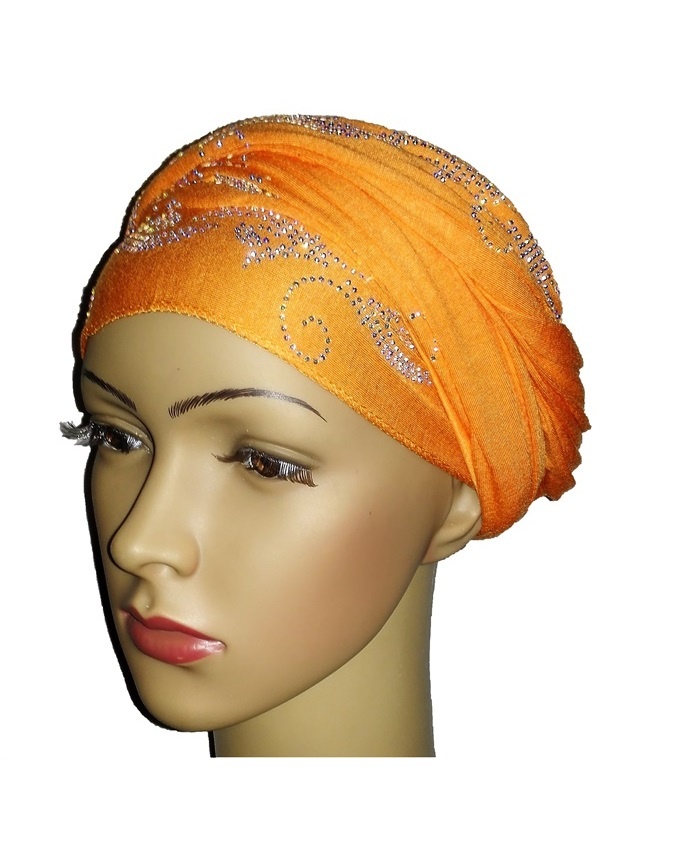 new    regal turban with wave design - orange   n5,800