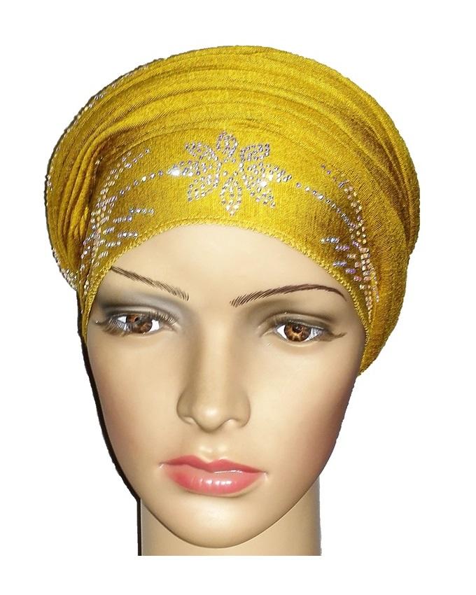new    regal turban with petal studs- mustard   n5,800