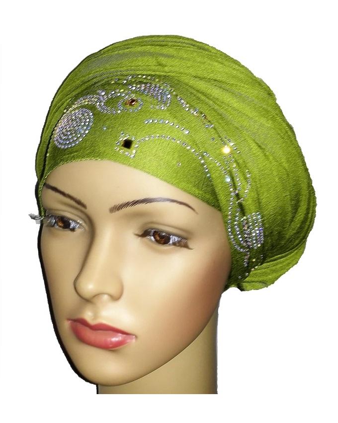 new    regal turban wave & circle design- lime green   n5,800