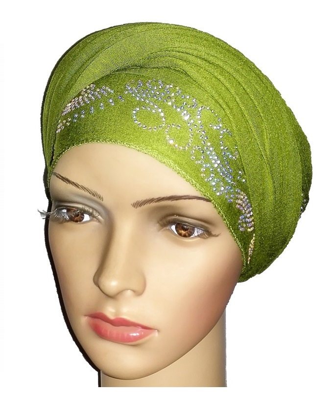 new    regal turban with lake waves- lime green   n5,800