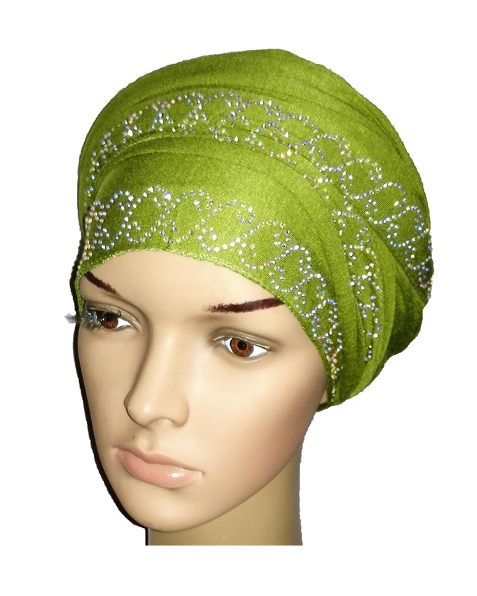 new    regal turban with chain link design- lime green   n5,800