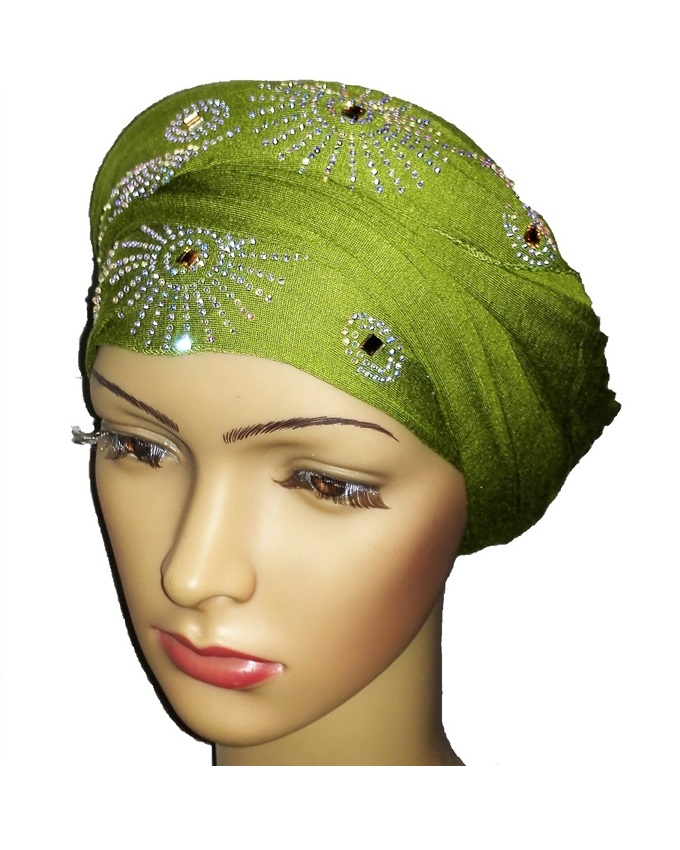 new    regal turban with sun circle studs- lime green   n5,800