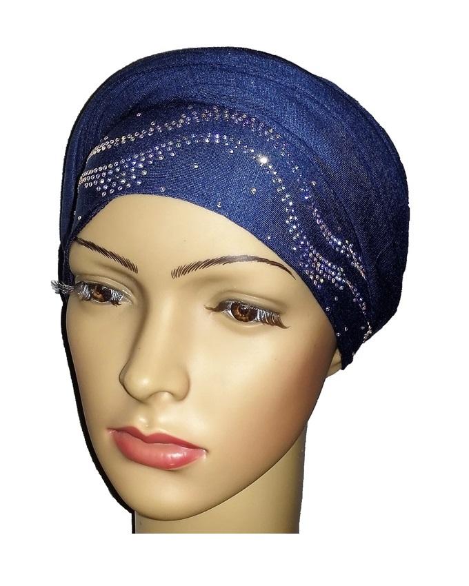new    regal turban with ocean waves- denim blue   n5,800