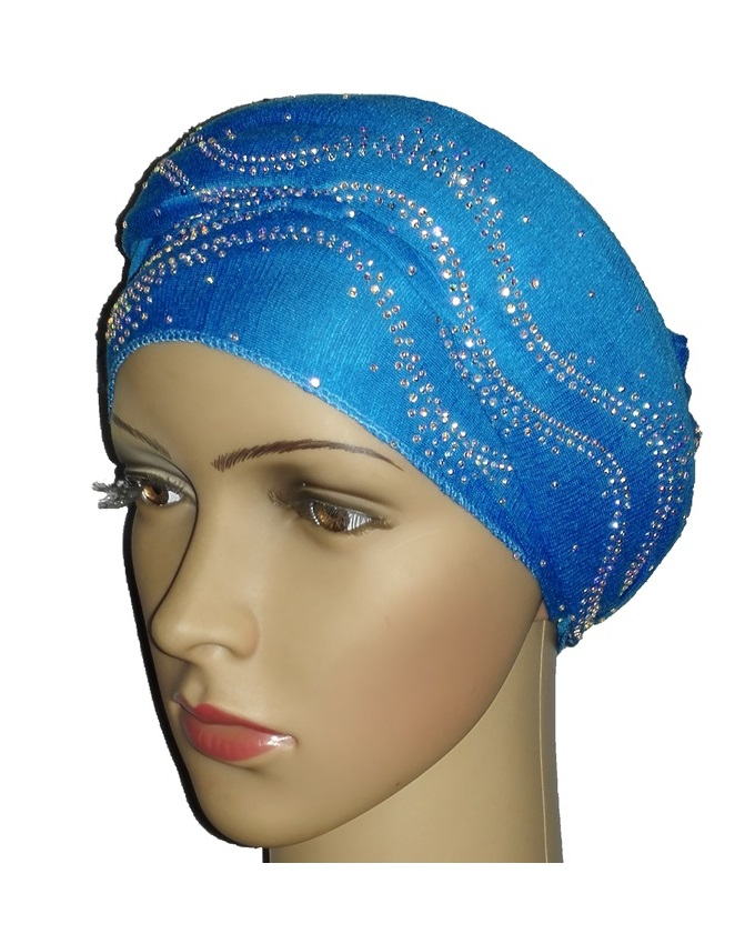 new    regal turban with ocean waves- turquoise   n5,800