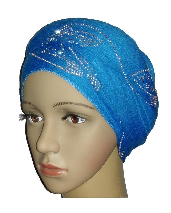 new    regal turban with orbital print- turquoise   n5,800