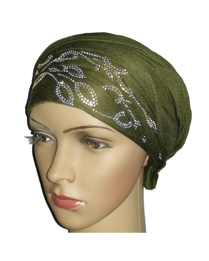 new    regal turban with petal design- olive green   n5,800