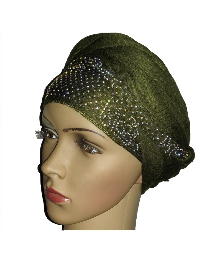 new    regal turban with vendla print- olive green   n5,800