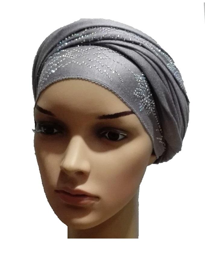 new    regal studded turban petal studs - grey   n5,800