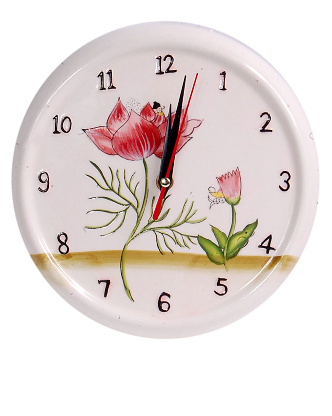 new    ceramic cream flower clock - 21cm   n3,700